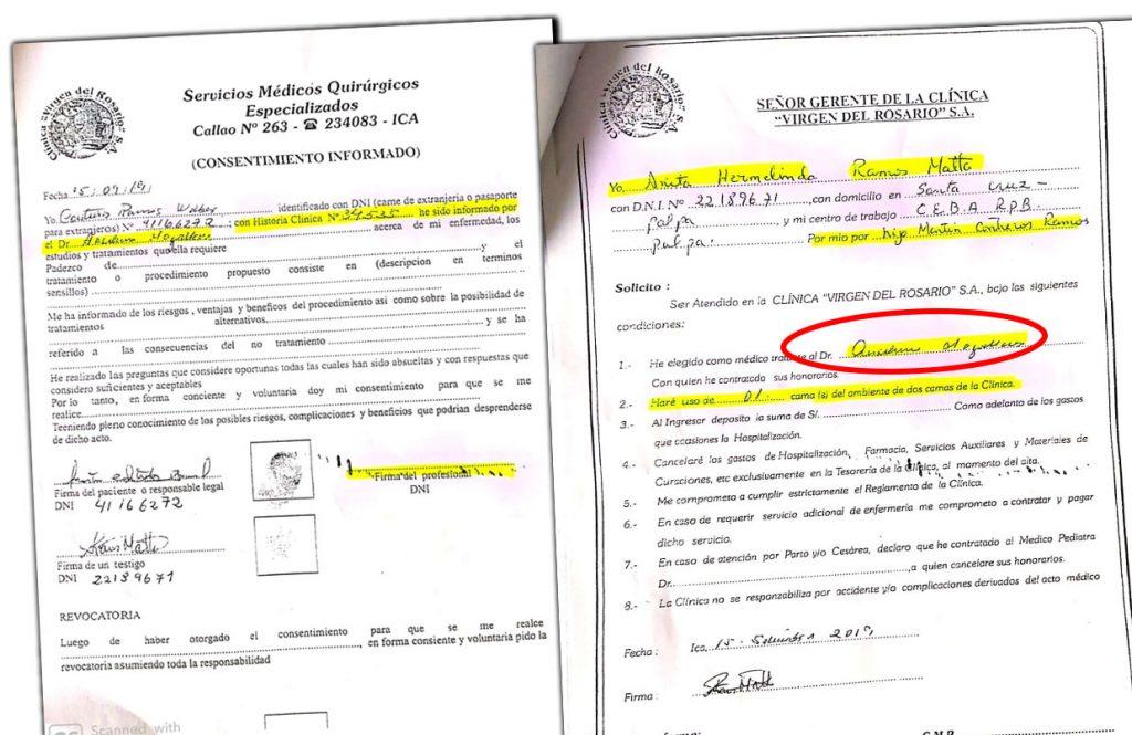 Paciente Wilber Martín Contreras Ramos y su testigo firman consentimiento informado y solicitud eligiendo a Anselmo Magallanes como el responsable para la operación.