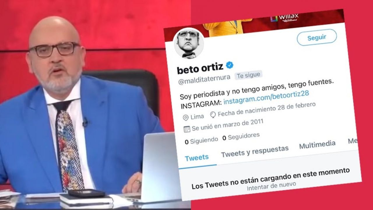 Cuenta de Twitter de Beto Ortiz desaparece tras acusar duramente a manifestantes contra Merino