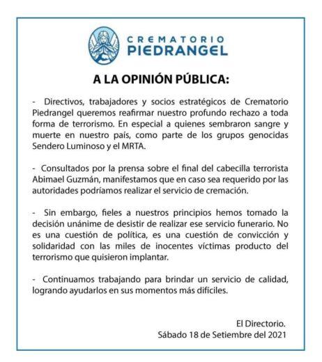 Crematorio se niega a incinerar cuerpo de Abimael Guzmán - Cusco Post